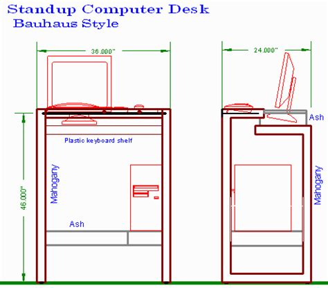 stand up desk dimensions woodware stand up computer desk in the bauhaus style