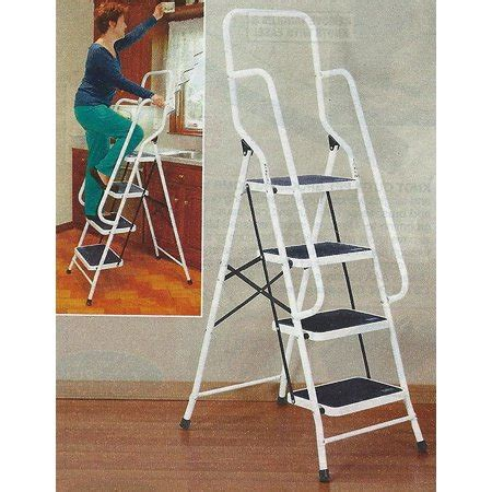 4 Step Safety Ladder With Handrails by 62 5 Quot Four Step Steel Safety Ladder With Handrails