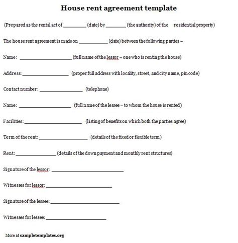 House Rent Contract Template by 10 Best Images Of House Rental Agreement Template House