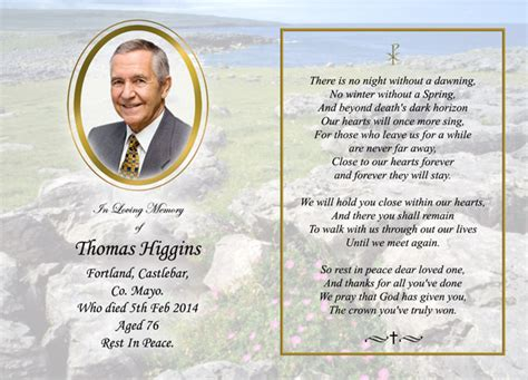 how to make a memorial card memorial cards heverin print castlebar