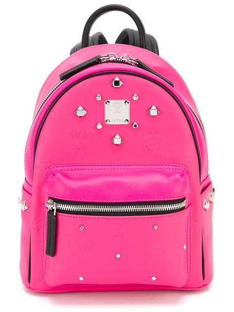 mcm studded small sized backpack in pink lyst