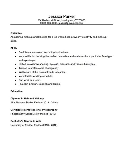 Sle Resume Entry Level Cosmetology Entry Level Makeup Artist Resume Sle Makeup Vidalondon