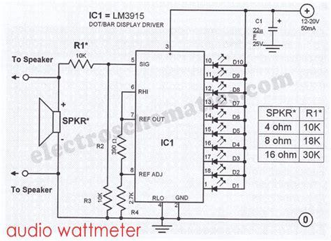 Add On Garage Designs audio wattmeter circuit with lm3915