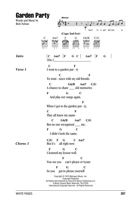 backyard party lyrics garden party sheet music by ricky nelson lyrics chords