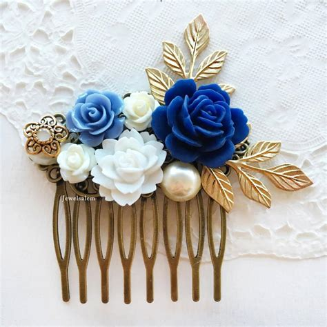 White Navy Hair Clip 1 wedding comb navy blue white bridal hair accessories gold