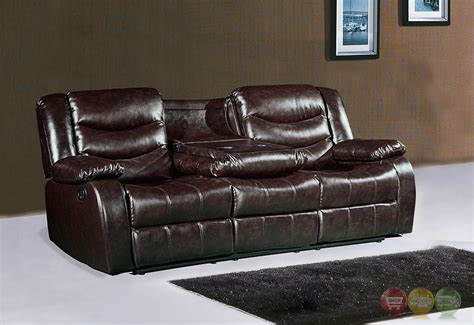 brown leather reclining sofa 644br brown leather reclining sofa with drop down console