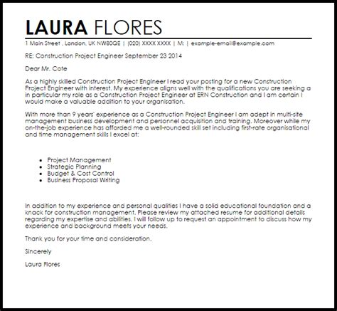 Cover Letter For The New Project by Construction Project Engineer Cover Letter Sle Cover