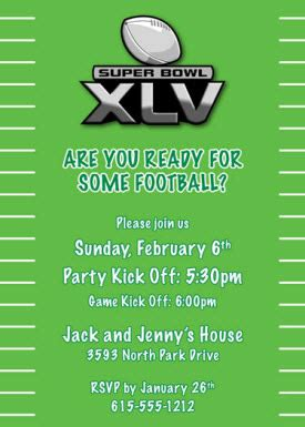 super bowl xlv party invitation wording daily party dish