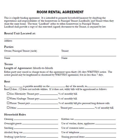renting a room agreement room rental agreement form real estate forms