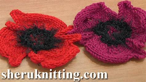 knitted flower pattern youtube knitting flower patterns tutorial 14 free poppy flower to