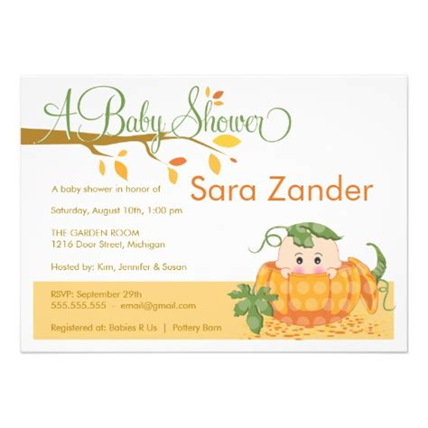 Pumpkin Themed Baby Shower Invitations - fall pumpkin baby shower invitation 5 quot x 7 quot invitation card zazzle