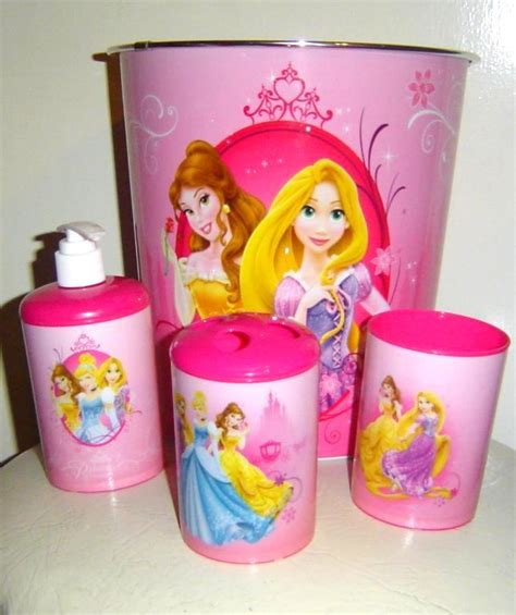 Disney Bathroom Accessories Disney Princess Bath Set 3 Accessory Set Plus Wastebasket Bath Accessory Sets