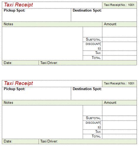 taxi receipt templates   taxi receipts