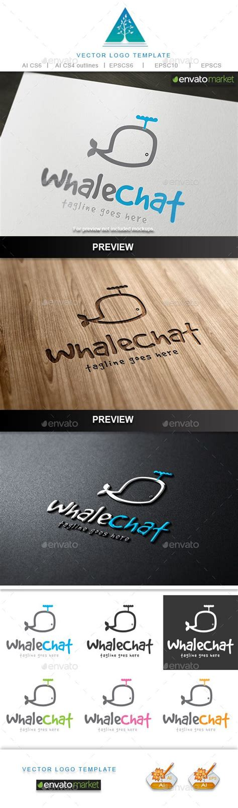 Whale Chat whale chat logo logo design template logos and template