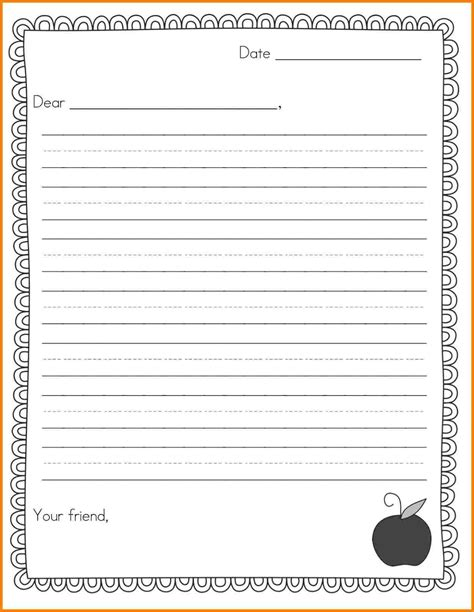 templates for letter writing 9 writing a letter template for elementary students
