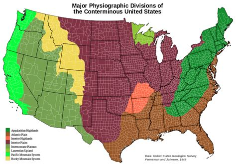 physiographic map of united states file us conterminous 48 physiographic divisions v1 svg