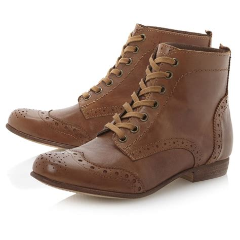 new dune pretenders womens brown brogue lace up