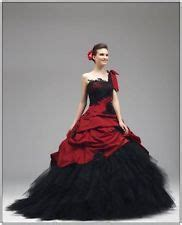 Neu Gothic Rot / Schwarz Brautkleider Ballkleid Eine