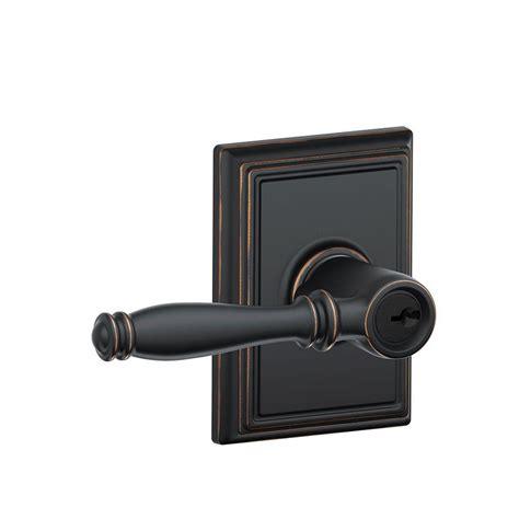 Exterior Door Levers Schlage Birmingham Aged Bronze Entry Door Lever With Trim F51a Bir 716 Add The Home Depot