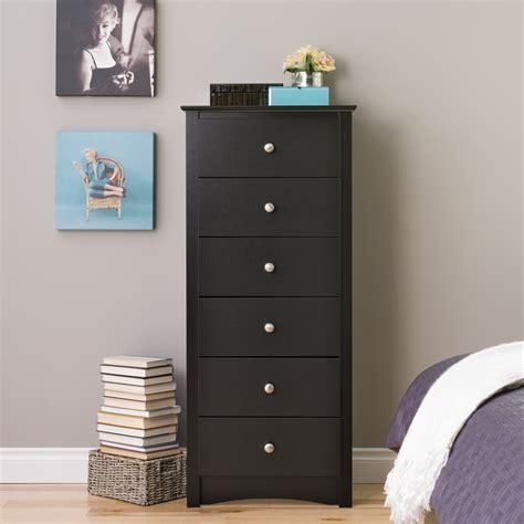 tall narrow black chest of drawers prepac black sonoma tall 6 drawer chest