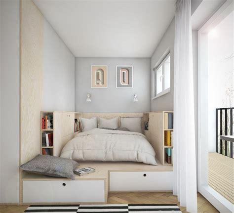 Beau Agencer Une Petite Chambre #1: amenagement-petite-chambre-lit-plate-forme-bois-tiroirs.jpg