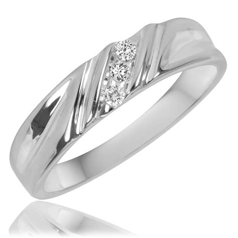 3 8 carat t w trio matching wedding ring set 10k
