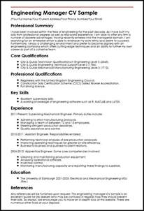 engineering manager cv sle myperfectcv