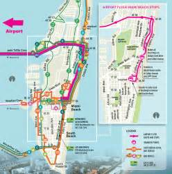 Miami Bus Map by Getting Here Condo Rentals South Beach Miami