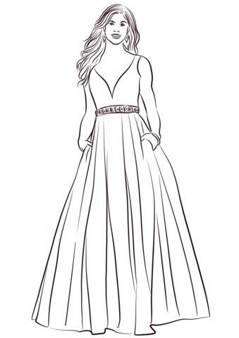dibujo de vestido de bola  colorear dibujos