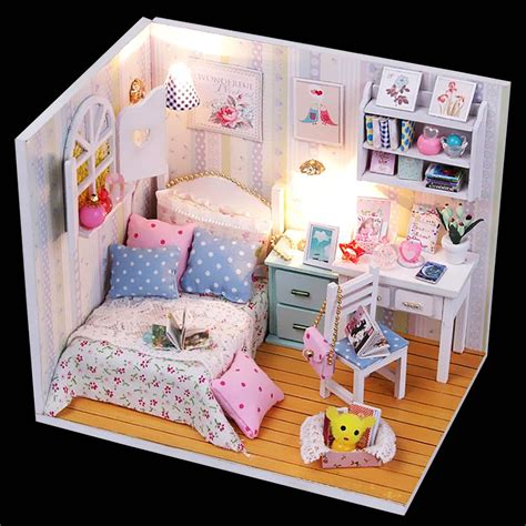 Doll House Decorating New Room 2 by Kits Wood Dollhouse Miniature With Led Furniture Cover