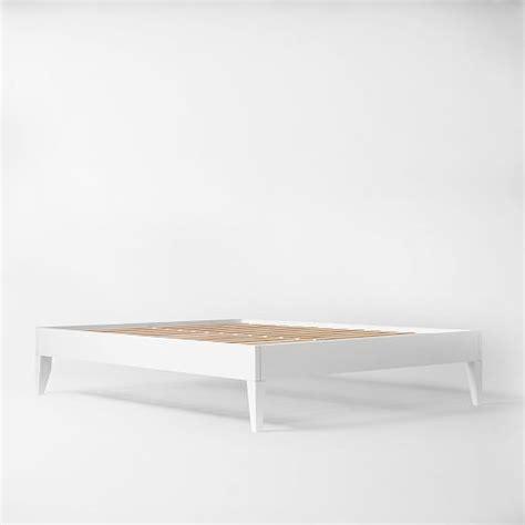 Wood Bed Frame Legs Narrow Leg Wood Bed Frame White West Elm