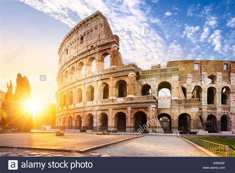 My View Of Rome by View Of Colosseum In Rome And Morning Sun Italy Europe