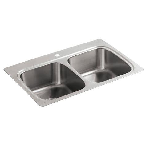 Drop In Kitchen Sinks Stainless Steel Kohler Verse Drop In Stainless Steel 33 In 1 50 50 Bowl Kitchen Sink K 5267 1 Na