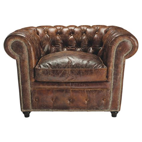 Chesterfield Leather Button Armchair In Brown Vintage Maisons Du Monde