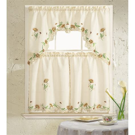 Kitchen Curtains Sets Bath Cosmos 3 Kitchen Curtain Set Reviews Wayfair