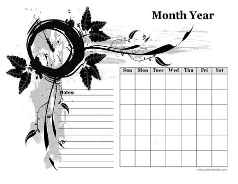 monthly blank calendar  designer monochrome  printable templates