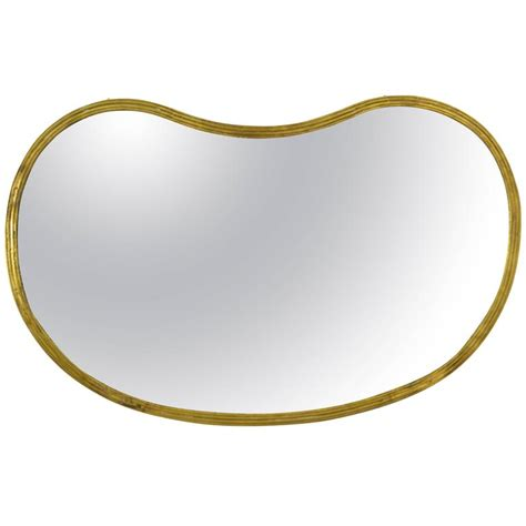 kidney shape kidney shape brass mirror for sale at 1stdibs