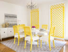 yellow and gray room contemporary dining room diane