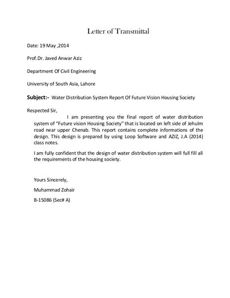 Engineering Transmittal Letter Template Water Distribution System Design Report