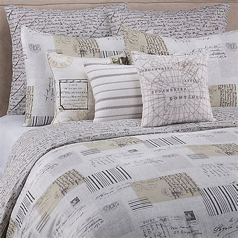 script bedding 7 pc vue sincerely yours queen duvet set vintage french
