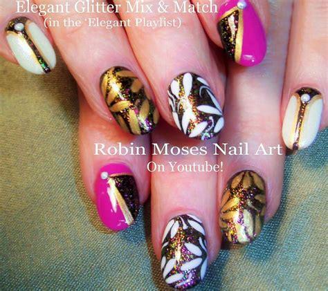 tutorial nail art pinterest nail art tutorial easy glam nails pink black and white
