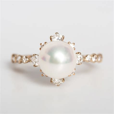 13 Most Stylish Pearl Necklaces For This Winter by Winter Pearl Ring Wedding Engagement Catbird
