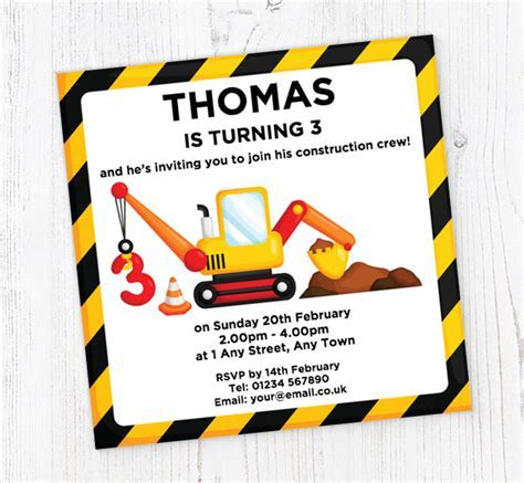3rd Birthday Digger Party Invitations   Customise Online