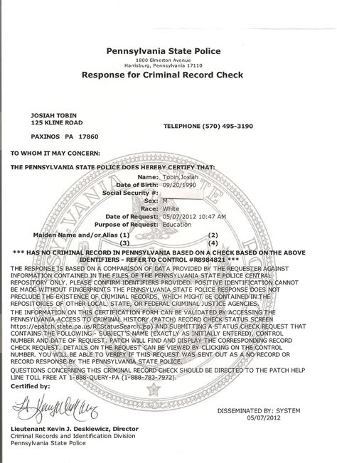 Pa Arrest Records Free Clearances Josiah Tobin S E Portfolio