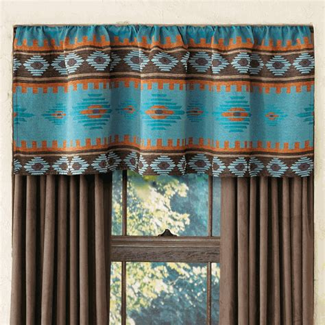 Southwest Kitchen Curtains Skystone Turquoise Rod Pocket Southwest Valance