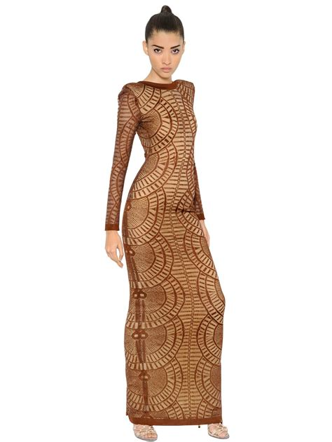 dress tattoo balmain effect viscose jersey dress in brown lyst