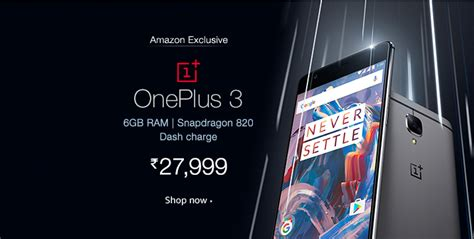 Buy Amazon Com Gift Card In India - buy oneplus 3 for just rs 27 899 from amazon india flashsaletricks
