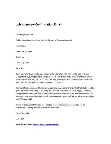 Job Interview Confirmation Email Application Confirmation Email Template
