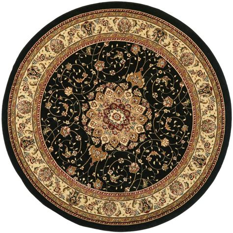 Circular Area Rugs Safavieh Lyndhurst Black Ivory 8 Ft X 8 Ft Area Rug Lnh329a 8r The Home Depot