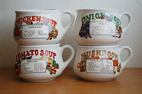 vintage recipe soup bowls mugs with handle set of 4 onion